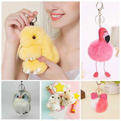 'Rabbit/Flamingo/Owl/Hamster/Pom-pom Key Chain Bag Charm Phone Car Girl Pendant'