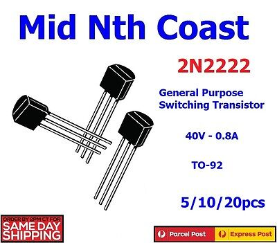 5/10/20pcs x 2N2222 NPN 40V 0.8A General Purpose Switching Transistor TO-92