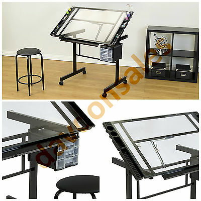 Drawing Table Drafting Art Adjustable Desk Board Craft Tempered Glass Drawers