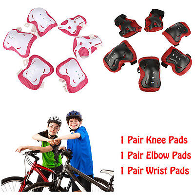 6 x Roller Skating Knee Pads Protective Kids Child Elbow Wrist Safety Guard Gear
