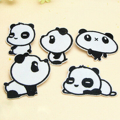 6pcs/set Aufnäher Bügelbild Iron on Patches Panda Bär China Zoo süß neu Hot