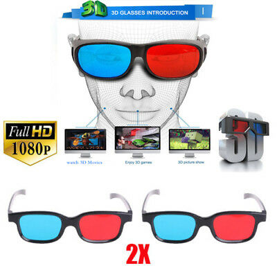 2x ROT-BLAU 3D Brille Glasses HD DVD For Film Picture Games Beamer PROJEKTOR NEU