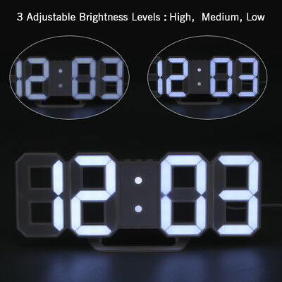 3D Digital Large LED Wall Clock Alarm Clock Snooze 12/24 Hour USB Charge White