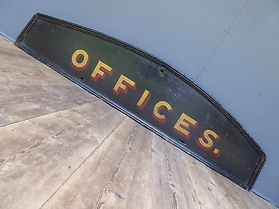 Antique Victorian 'Offices' Painted Wooden Railway Sign Vintage Industrial