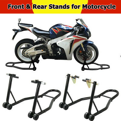 Heavy Duty Motorcycle Stand Bike Front & Rear Wheels Paddock Stand Race Lift