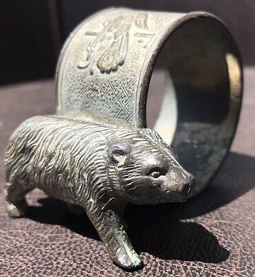 VICTORIAN NAPKIN RING CHINESE CALIGRAPHY Bear Or Boar ASIA FIGURAL