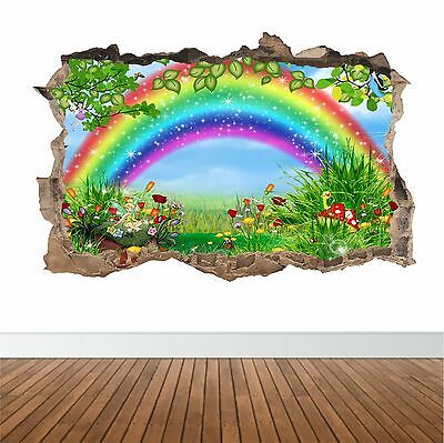 Rainbow Fairy Garden in the wall art sticker decal childrens imagination