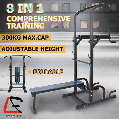 Lazar Fitness Knee Raise Power Tower Chin Up Station Dip Pull Up Multi Home Gym