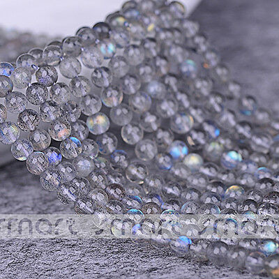 "5A Grey Natural MoonStone Gemstone Round Loose Beads 15.5"" Inches Strand 3 4 5mm"