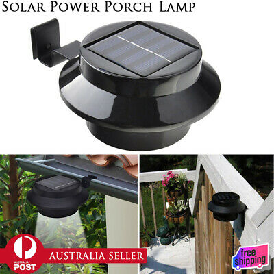 Solar Powered Gutter Fence 3 LED Lights Outdoor Garden Wall Pathway Path Lamp