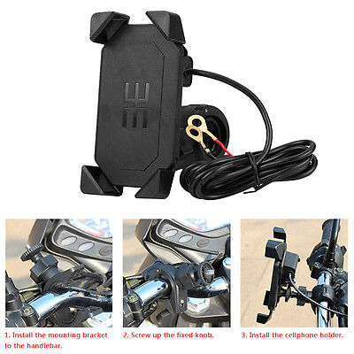 Motorcycle Scooter Handlebar Holder Mount with USB Charger For Cell Phone GPS SP