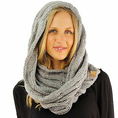 CC 2Tone Soft Chunky Warm Pullover Knit Long Loop Infinity Hood Cowl Scarf Gray