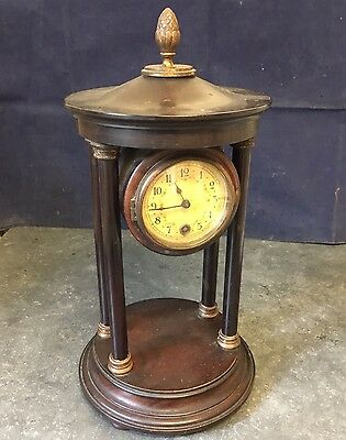 Unusual Antique 4 Pillared Mantel Clock Barrel Shaped Enclosure For Restoration