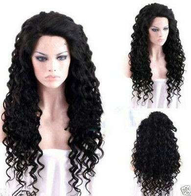 Hot Fashion Women Long Curly Black Synthetic Cosplay Party Heat-resistance Wigs