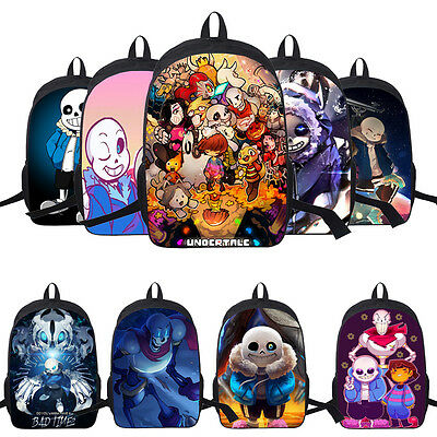 "16"" Sans Bag Undertale Backpack Rucksack School Travel Laptop Shoulder Workbag"