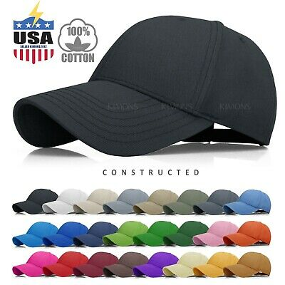 Constructed Baseball Cap Hat Cotton Adjustable Polo Style Plain Solid Mens Women