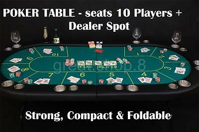 Professional Oval POKER TABLE - seats 10 players + DEALER SPOT - Foldable legs