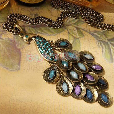 Vintage Bronze Style Peacock Blue/Green Crystal Chain Pendant Necklace mu6