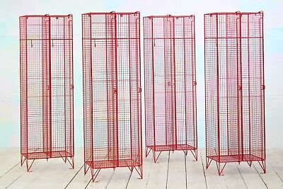 Retro Industrial Mid-Century Red Metal Wire Locker Cupboard Storage Cage Cabinet