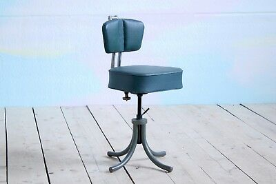 Vintage Retro MidCentury Industrial French Machinist Office Swivel Chair Chrome