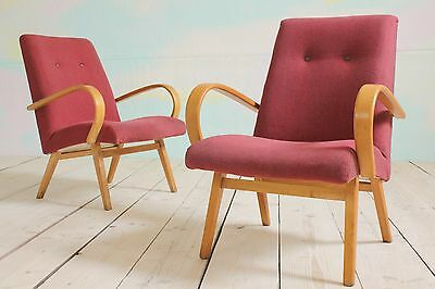 1 x Vintage Retro MidCentury Czech Ton Halabala Easy Lounge Cocktail Armchairs