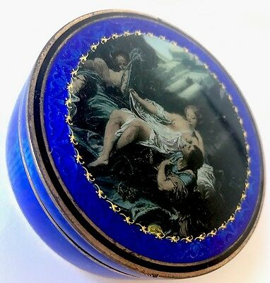 ANTIQUE 1900's SOLID SILVER & PAINTED GUILLOCHE ENAMEL BOX