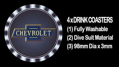 4  x  CHEVROLET EARLY STYLE LOGO,  MOTORCAR CAR , DRINK COASTERS -