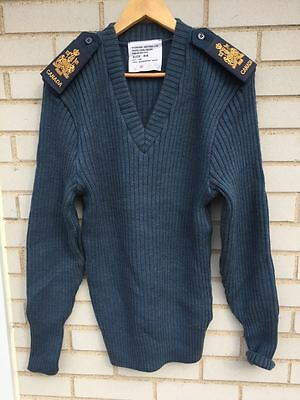 Canadian Air Force Blue Wool Sweater Size 44 Large & Ranks Rcaf Fits M & S Too