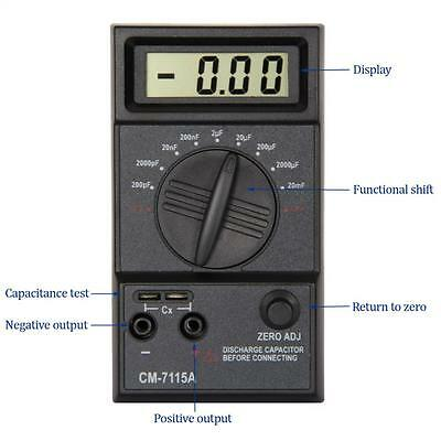 Digital 20mF-200pF LCD Screen Capacitance Meter Capacitor with Testing Leads