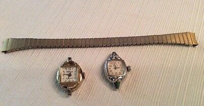 Lot 2 Vintage Watches For Repair-Lady Elgin & Waldman, 1 Gold Toned Stretch Band