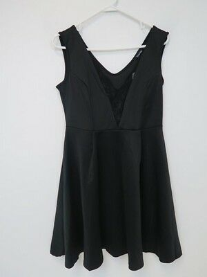 14b0a0cf09ff3 Boohoo Plus Abigail Lace Wrap Plunge Skater Dress - US 12 - Black - NWT