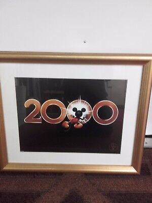 mickey mouse print framed printed 1999 for the millenium pretty hard to find im