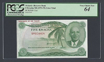 Malawi 5 Kwacha ND L1974-1975 P11ct Colour Trial  Uncirculated