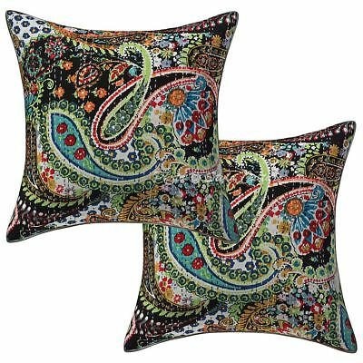"Cotton Indian Pillow Case Covers Kantha Printed 16"" Paisley Cushion Cover Pair"