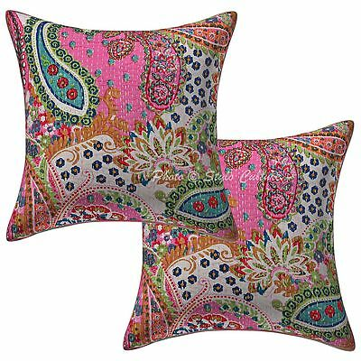 "Indian Cotton Pillow Case Covers Kantha Printed 16"" Paisley Cushion Cover Pair"