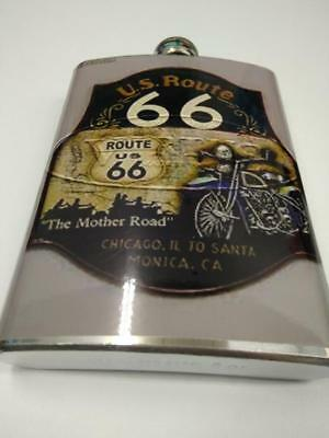 Petaca acero vintage retro stainless steel hip flask Route 66