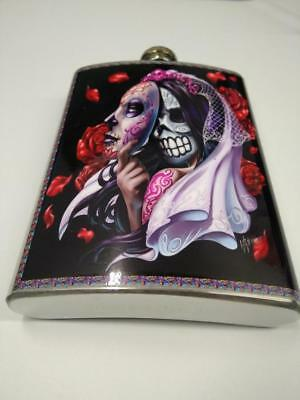 Petaca acero vintage retro stainless steel hip flask Mexican catrina