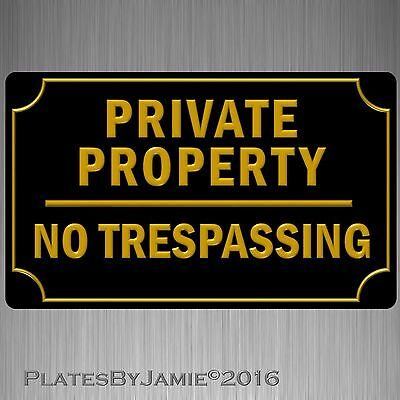 """Private Property No Trespassing Sign 8"""" x 12""""  3D Lettering Font Outline New"""