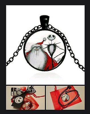 Nightmare Before Christmas Necklace in Gift Bag - Jack & Santa