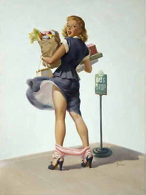 /'NUMBER PLEASE/' 1950s ART FRAHM VINTAGE PIN UP GIRL POSTER PRINT 50x42 9 MIL