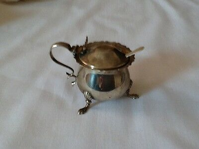 Silver Mustard Pot,antique Silverware With Spoon