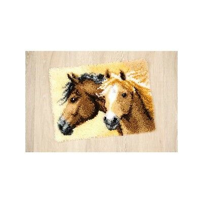 Knotted carpet Animal motif Horses with Yarn 55x40 cm Vervaco KKPN0144834