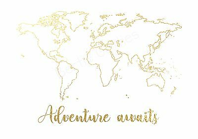 Adventure Awaits - Real Foil Quote - Inspirational Art - Foil Print Many Colours