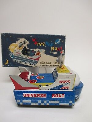 Original UNIVERSE BOAT - VEHICULE SPATIAL in Box / ME 767 Vintage Tin Toy China