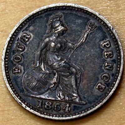 1854 Great Britain 4 Pence Silver