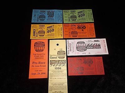 Lot Of 8 Vintage Collectible 1996 Unused NASCAR Racing Tickets Souvenirs MINT
