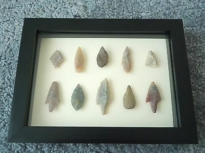 Neolithic Arrowheads in 3D Picture Frame, Authentic Artifacts 4000BC (0429)