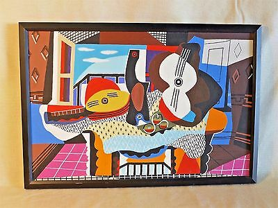Picasso Guitar and Mandolin Painting Hand Painted Copy by James Framed Acrylic