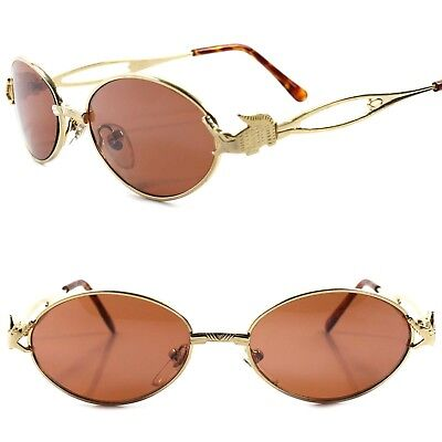 Genuine Vintage Funky Crocodile Temple Mens Womens Gold Round Oval Sunglasses