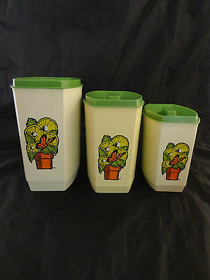 Mid Century Mod  3 Nesting Canister Set-Pot of Lemon Slices and Butterfly